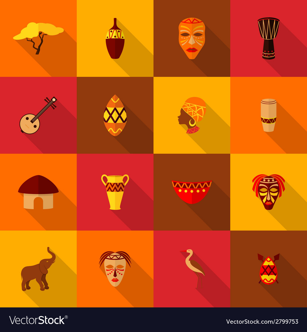 Africa icons set flat vector | Price: 1 Credit (USD $1)