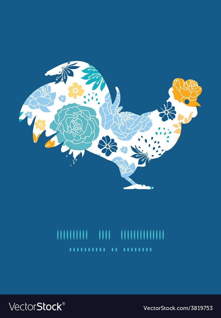 Blue and yellow flowersilhouettes rooster vector   Price: 1 Credit (USD $1)