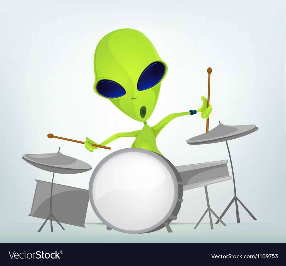 Cartoon alien drums vector | Price: 1 Credit (USD $1)