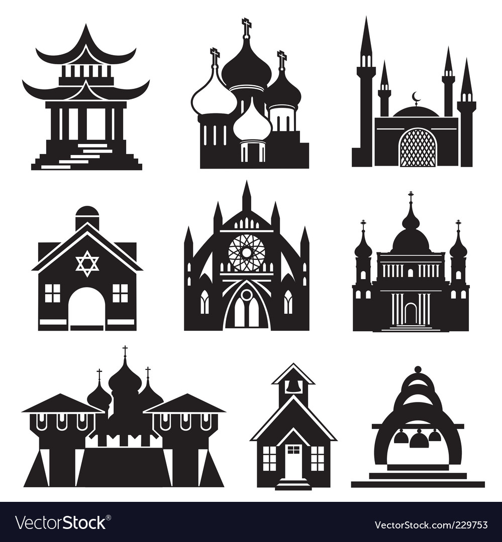 Church silhouettes vector | Price: 1 Credit (USD $1)