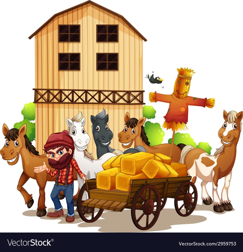 Farmer and barn vector   Price: 1 Credit (USD $1)