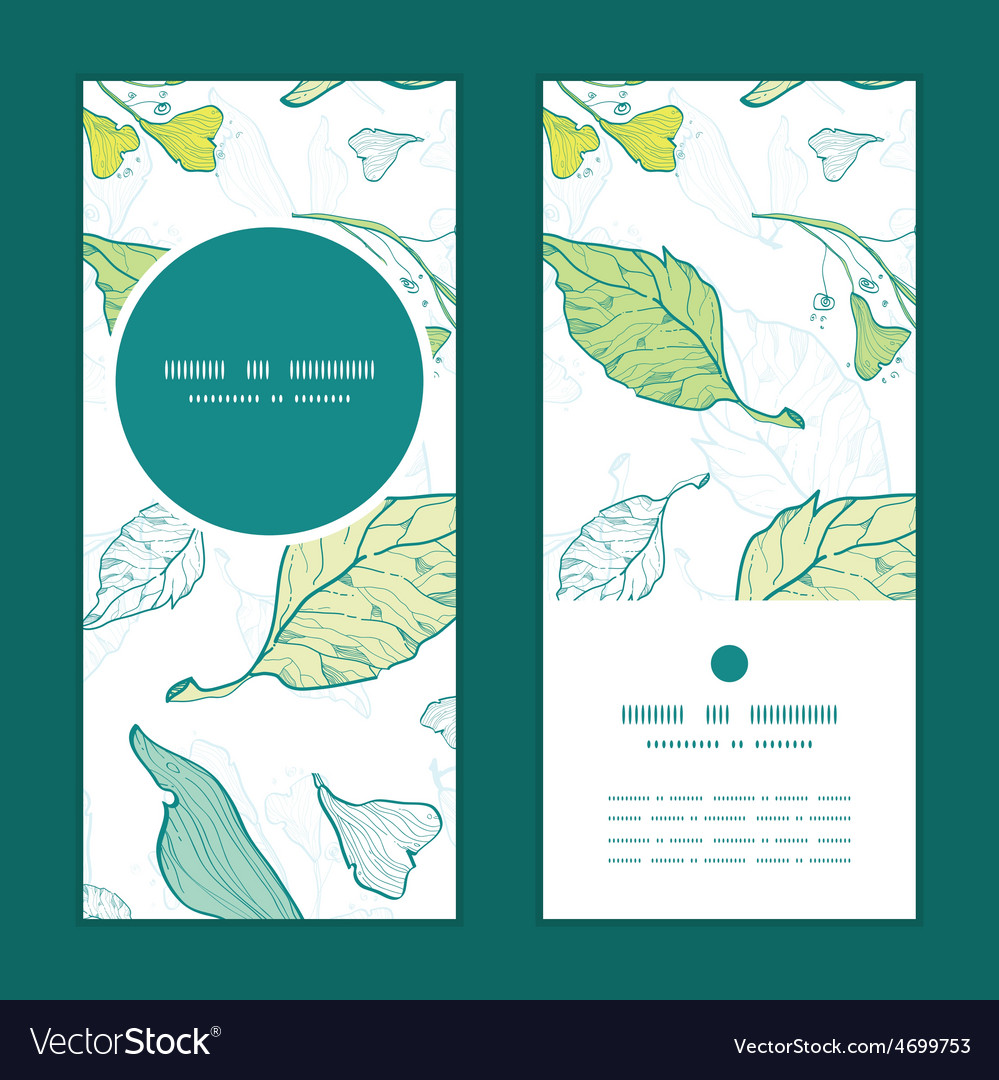 Lineart spring leaves vertical round frame vector | Price: 1 Credit (USD $1)