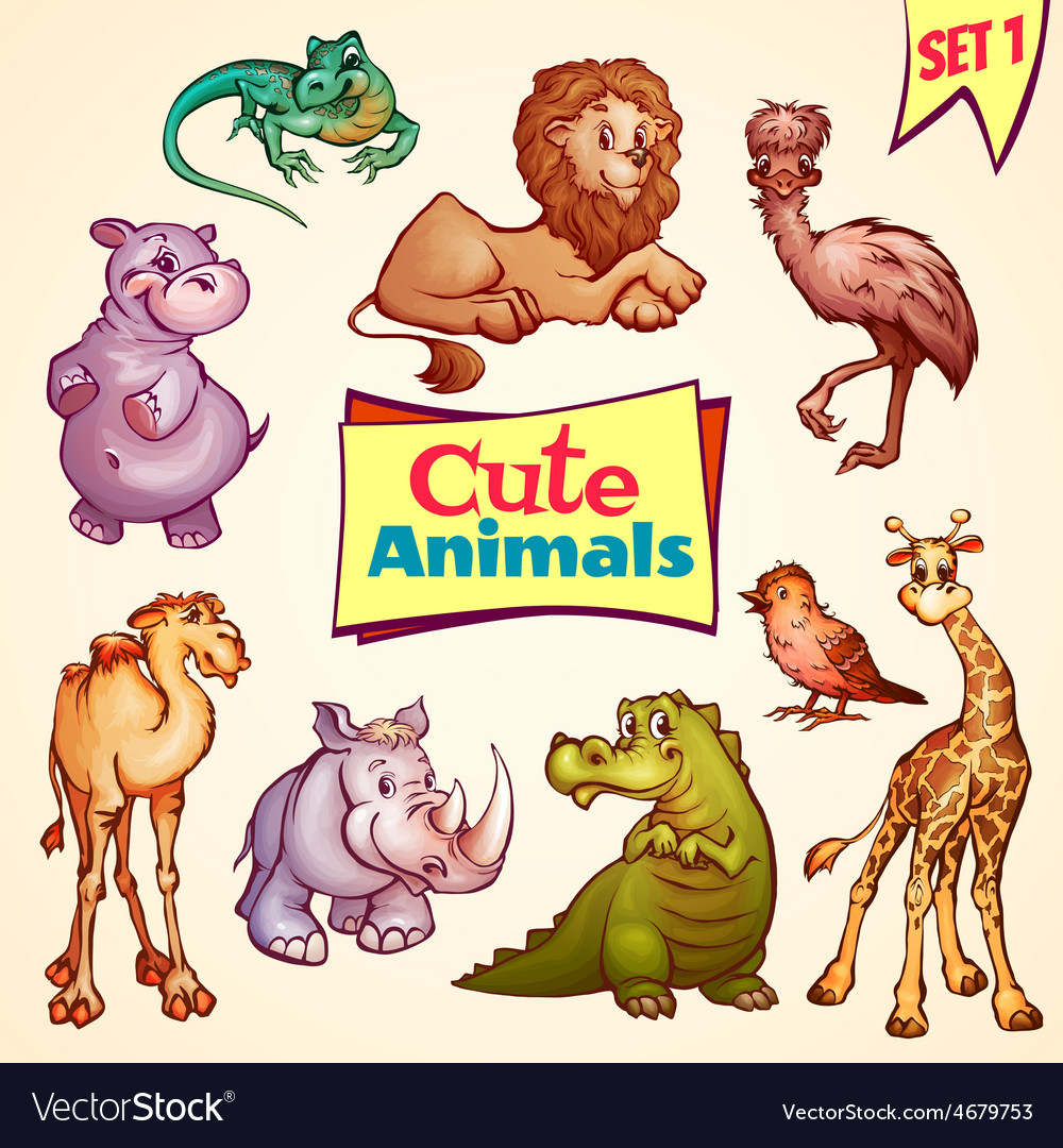 Set of cute animals lion rhino giraffe vector | Price: 5 Credit (USD $5)