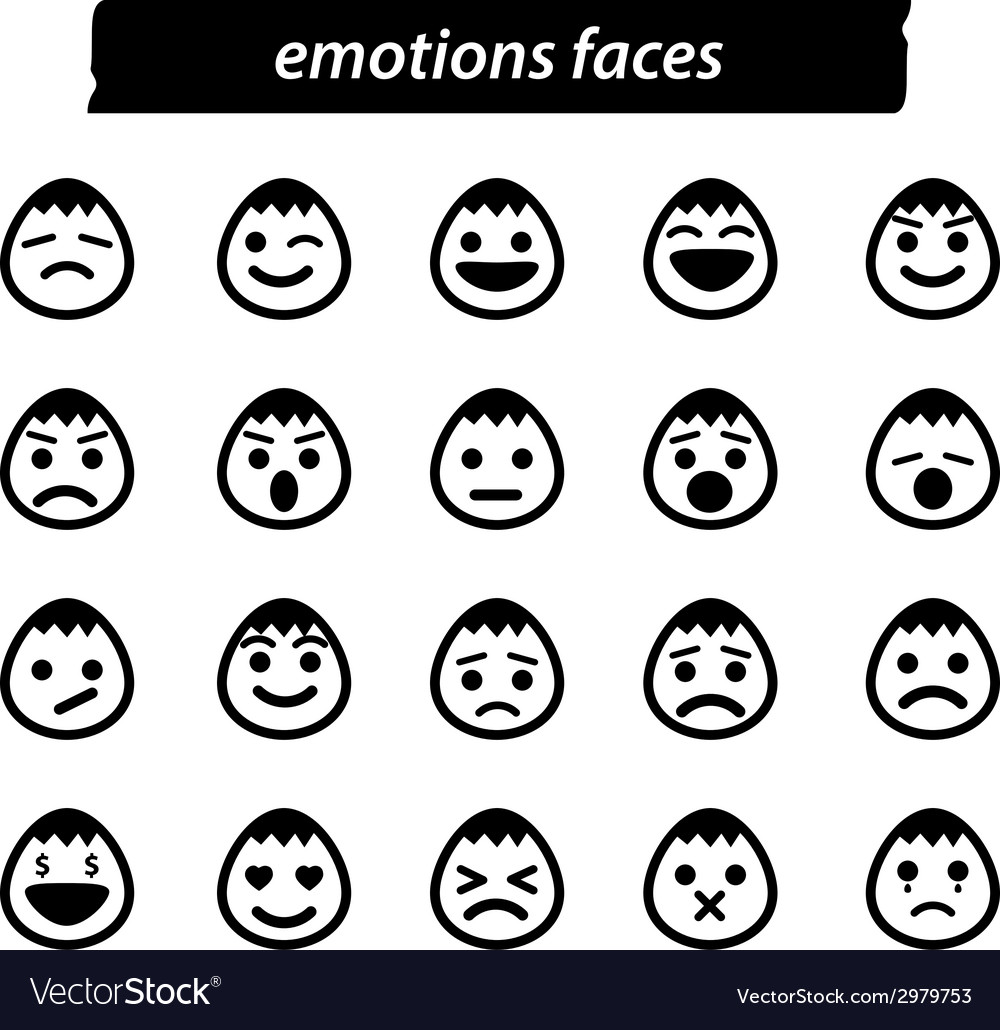 Set of icon emotions face vector | Price: 1 Credit (USD $1)