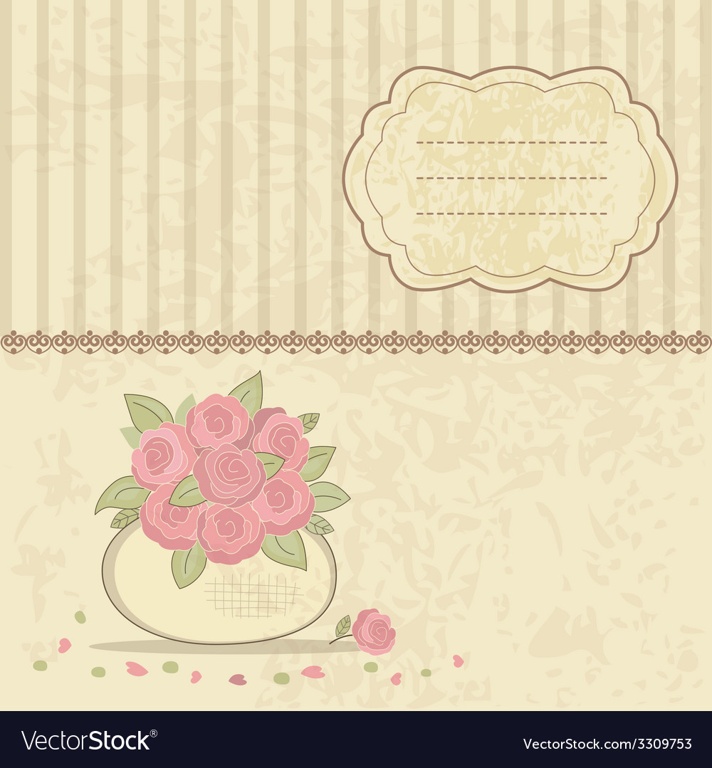 Vintage background with basket of roses vector | Price: 1 Credit (USD $1)