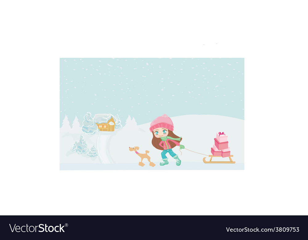 Winter little girl with gift box and her dog vector   Price: 1 Credit (USD $1)