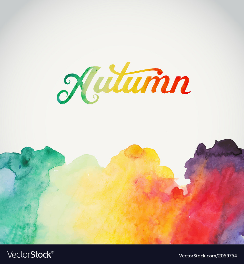 Autumn watercolor lettering abstract hand drawn vector | Price: 1 Credit (USD $1)