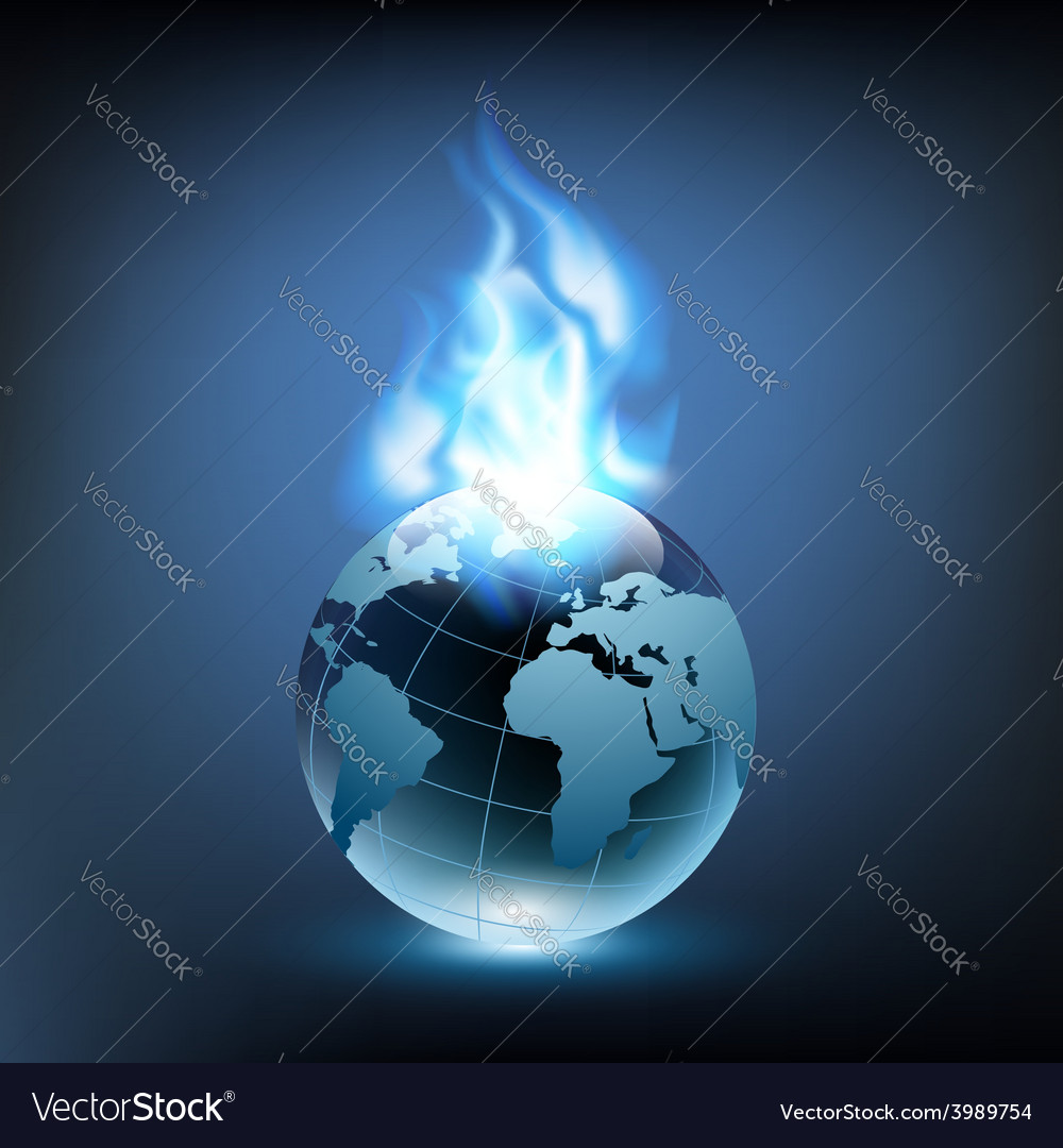 Blue flame and planet earth vector | Price: 1 Credit (USD $1)