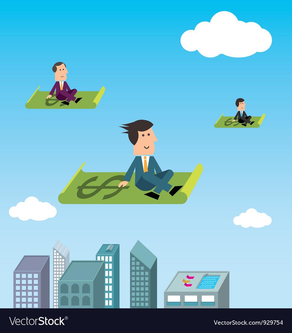 Business men flying vector   Price: 1 Credit (USD $1)