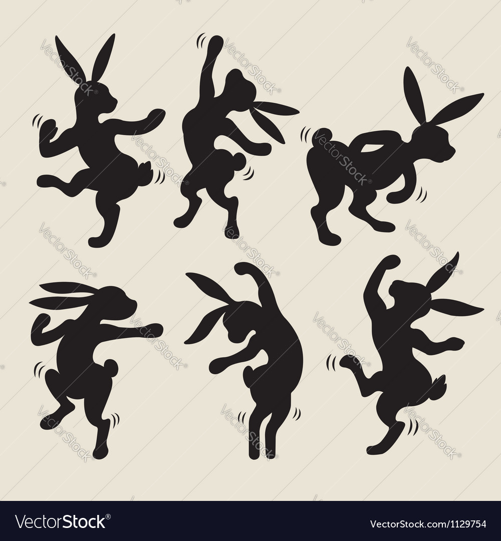 Dancing rabbit silhouette vector