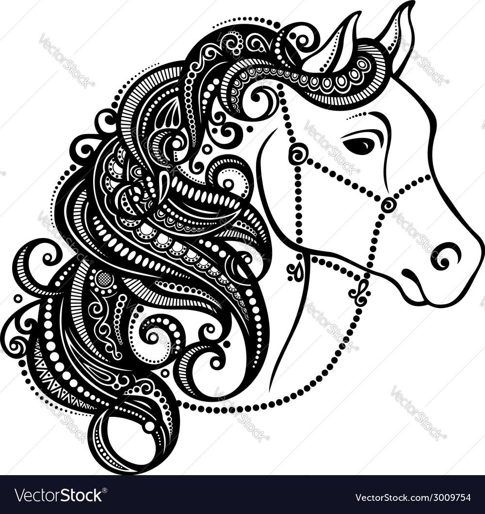 Decorative horse with patterned mane vector | Price: 1 Credit (USD $1)