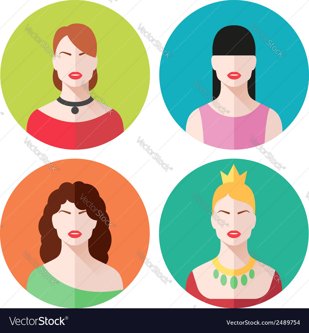 Female faces icons set vector | Price: 1 Credit (USD $1)
