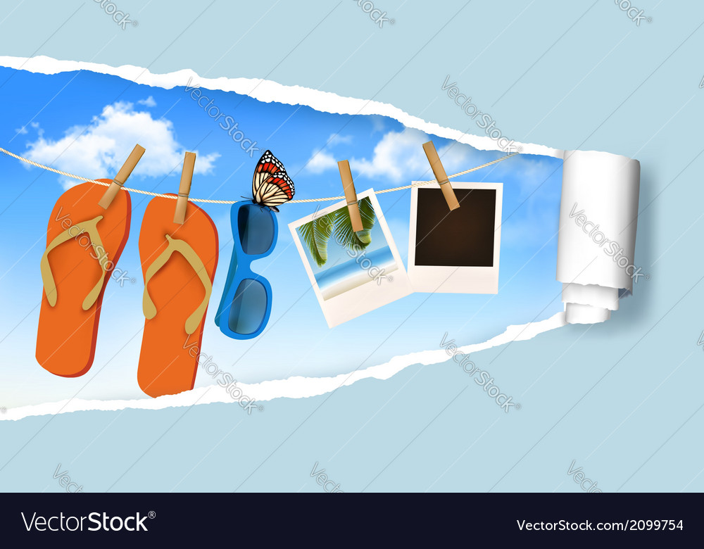 Flip flops sunglasses and photo cards hanging on a vector | Price: 1 Credit (USD $1)