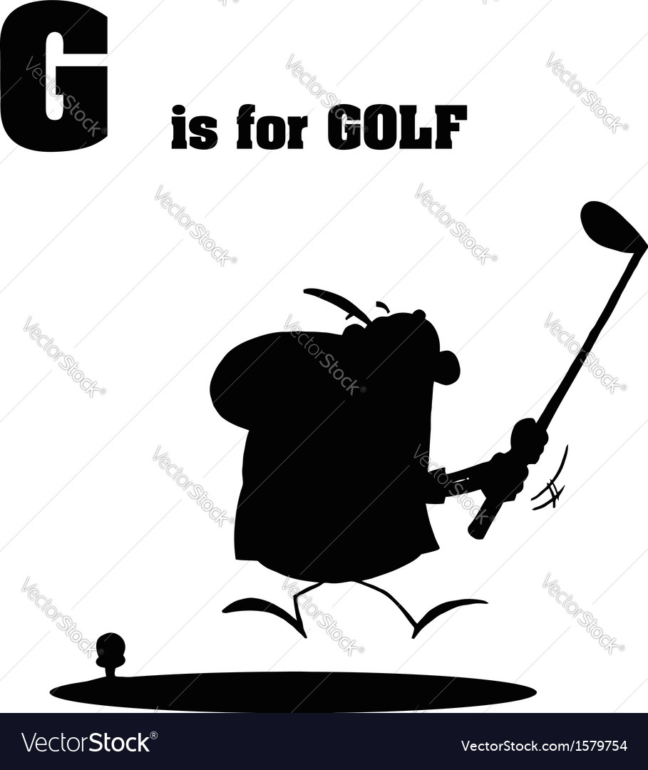 Golfer cartoon with silhouette vector | Price: 1 Credit (USD $1)
