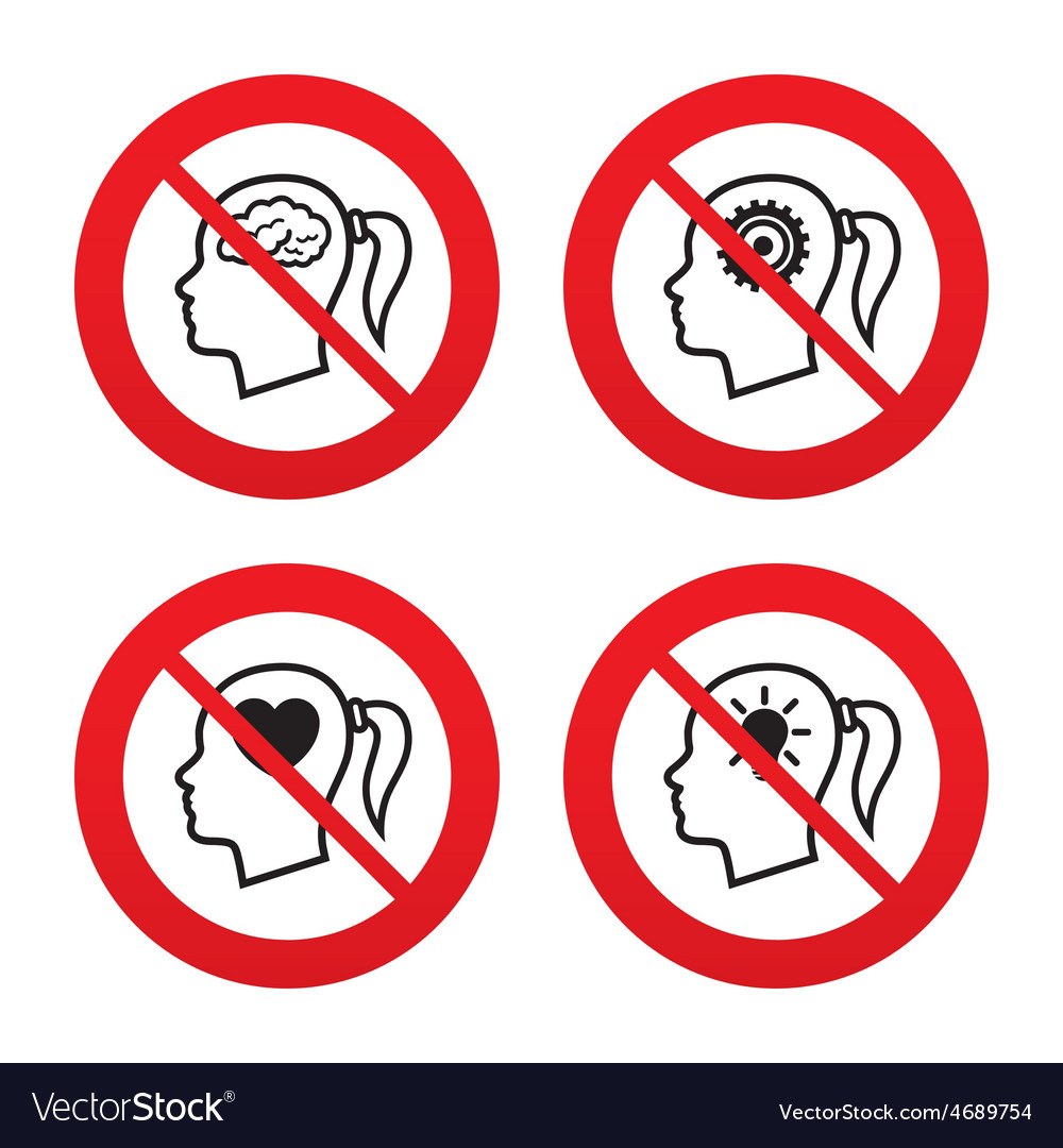 Head with brain iconfemale woman symbols vector | Price: 1 Credit (USD $1)