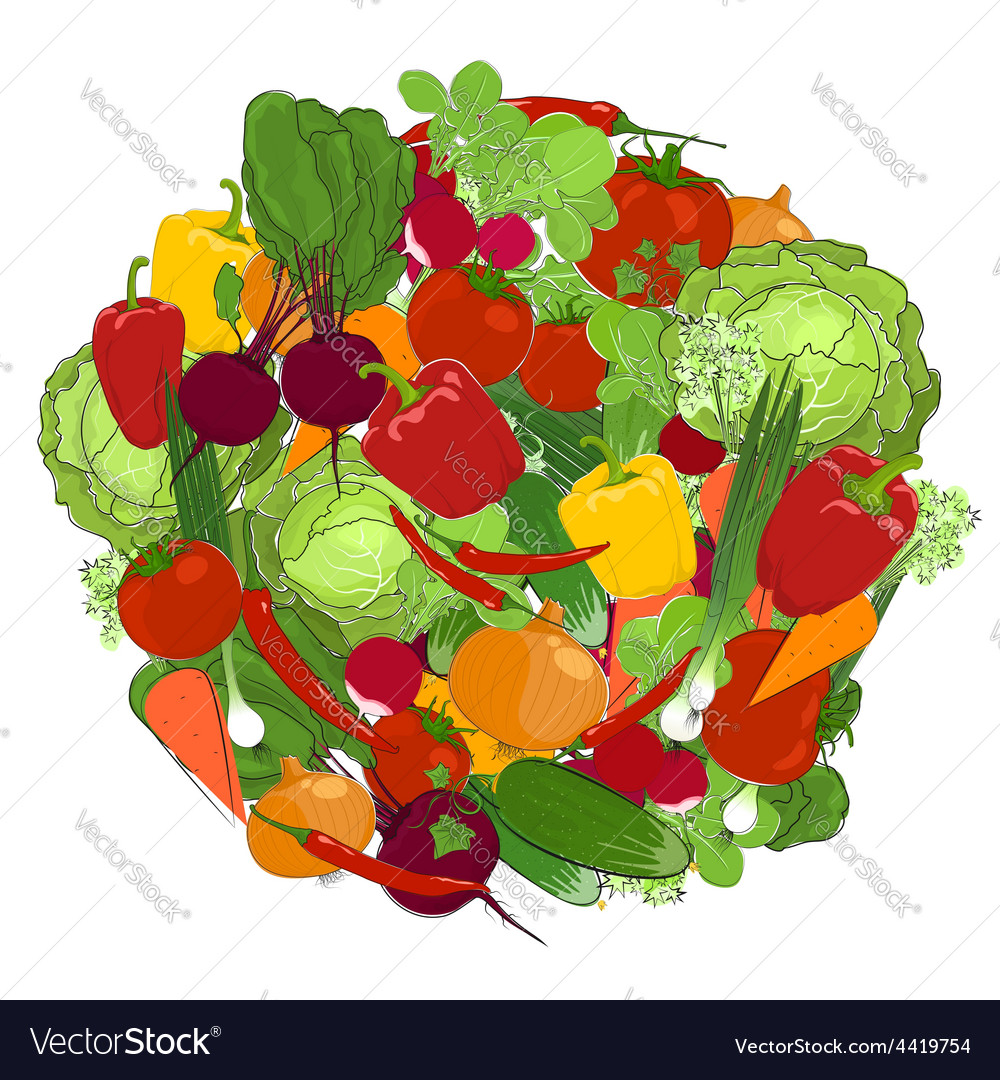 Healthy food fresh vegetables vector | Price: 1 Credit (USD $1)