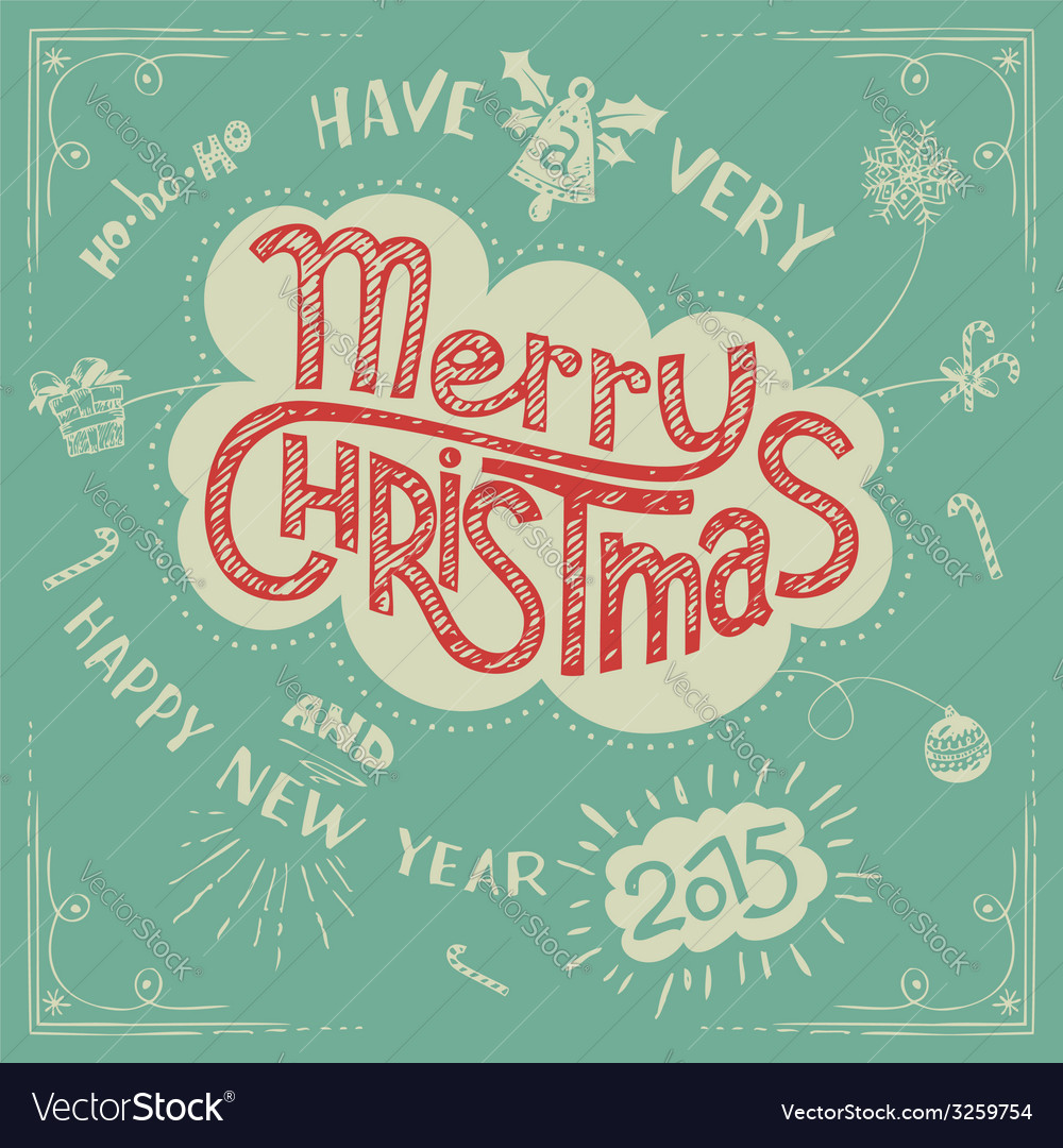 Merry christmas doodle greeting card vector | Price: 1 Credit (USD $1)