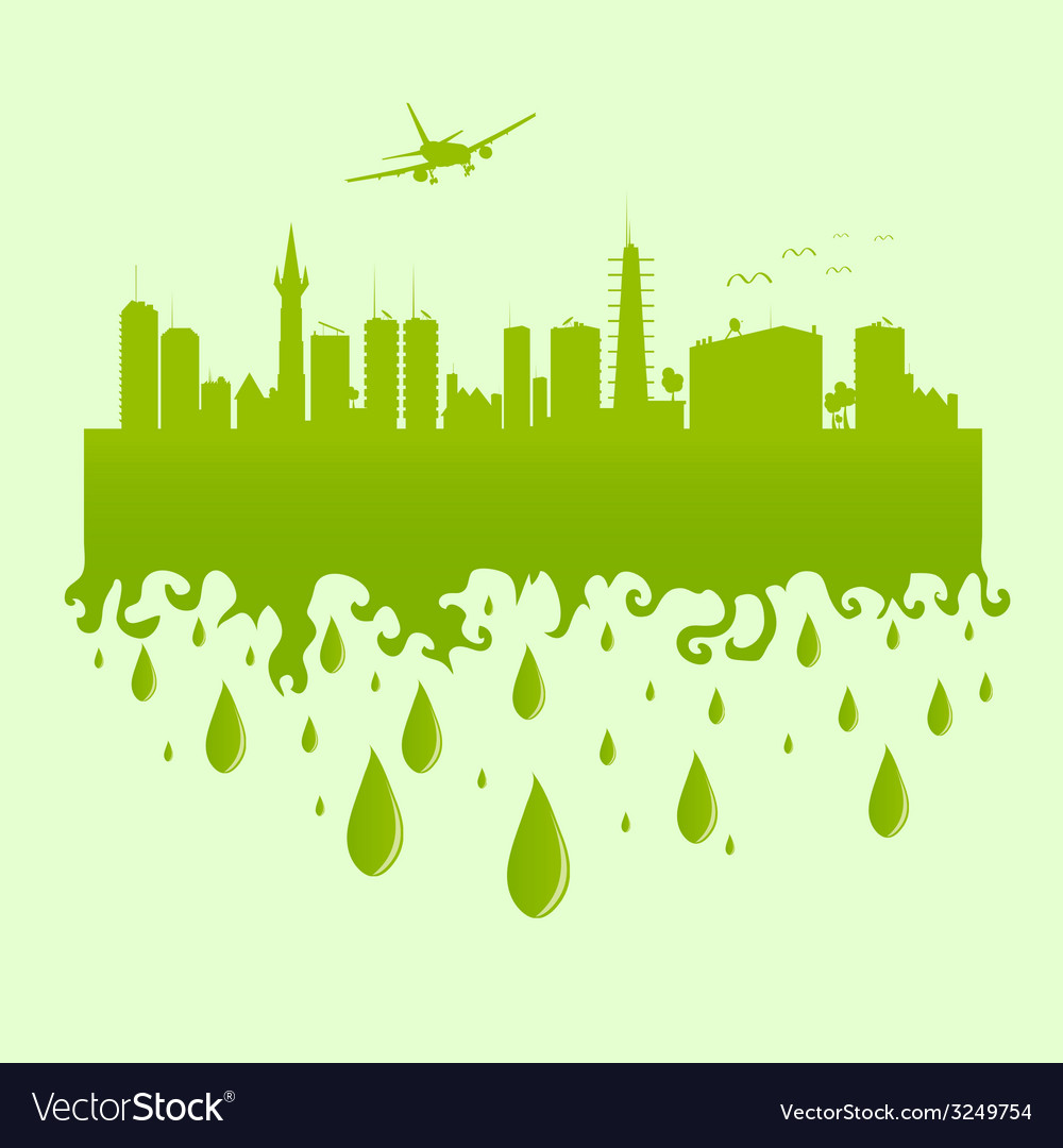 Plane above the city on a green vector | Price: 1 Credit (USD $1)