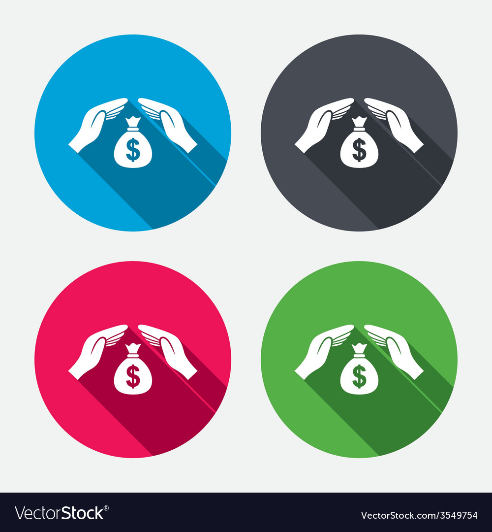 Protection money sign icon hands protect cash vector | Price: 1 Credit (USD $1)