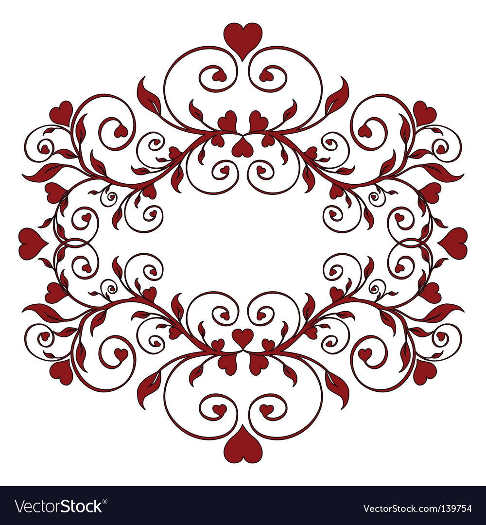 Red floral ornament with hearts vector | Price: 1 Credit (USD $1)
