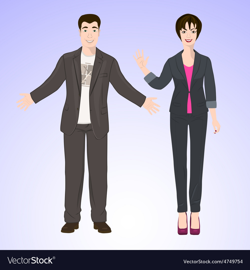 Smiling man and woman in office style wear vector | Price: 1 Credit (USD $1)