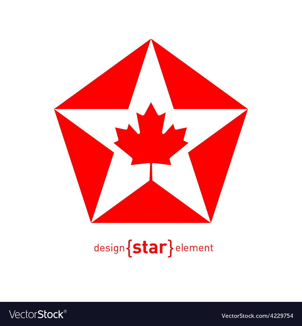 Star with canadian maple leaf on white background vector | Price: 1 Credit (USD $1)