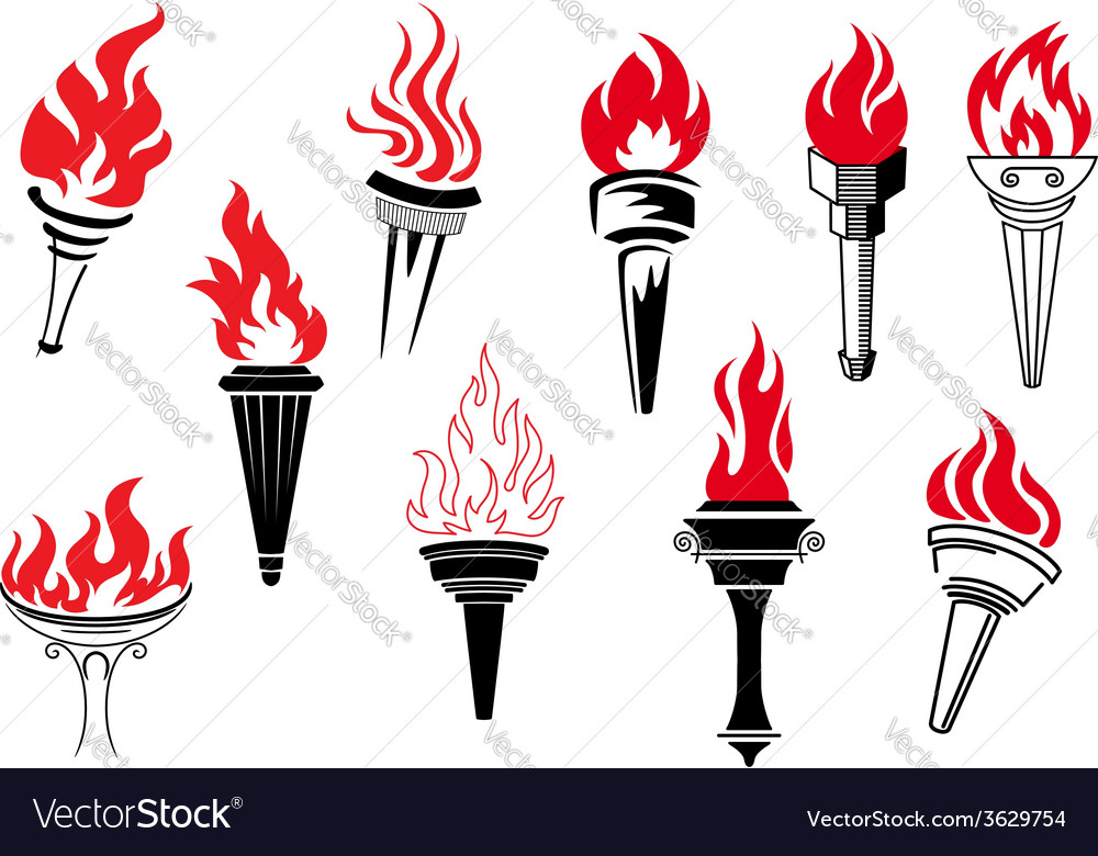 Vintage torches with burning flames vector | Price: 1 Credit (USD $1)