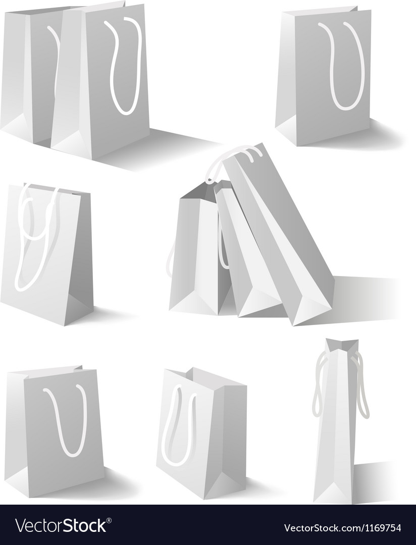 White paper bags set vector | Price: 1 Credit (USD $1)