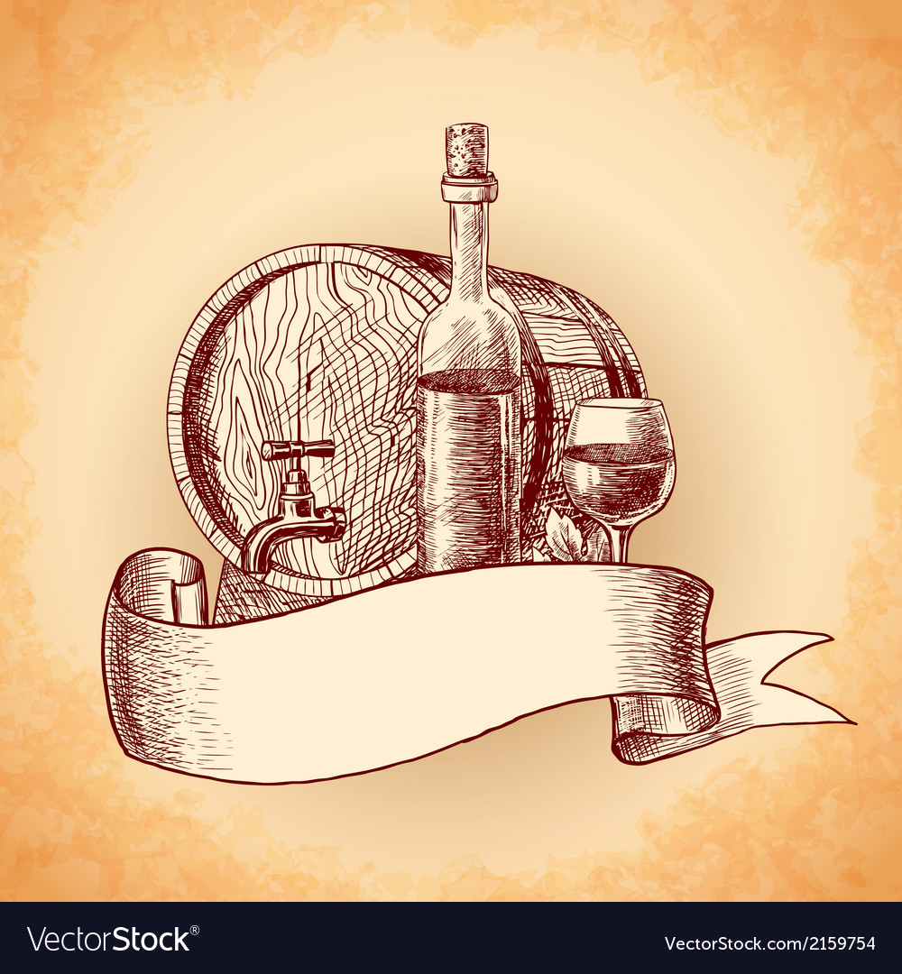Wine hand drawn background vector | Price: 1 Credit (USD $1)
