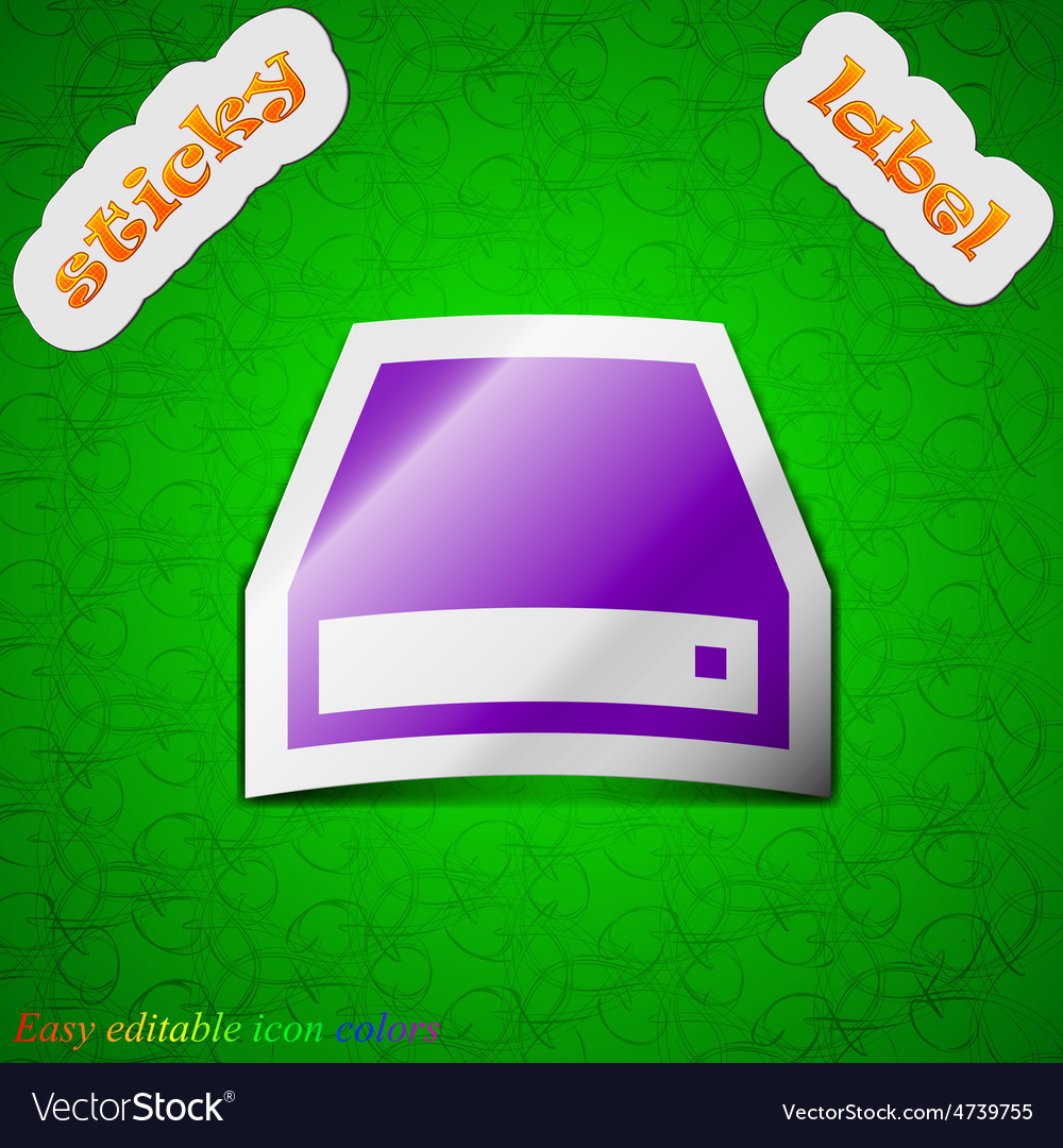 Cd-rom icon sign symbol chic colored sticky label vector | Price: 1 Credit (USD $1)