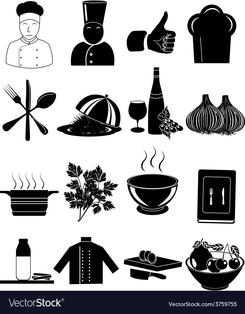 Chef restaurant icons set vector | Price: 1 Credit (USD $1)