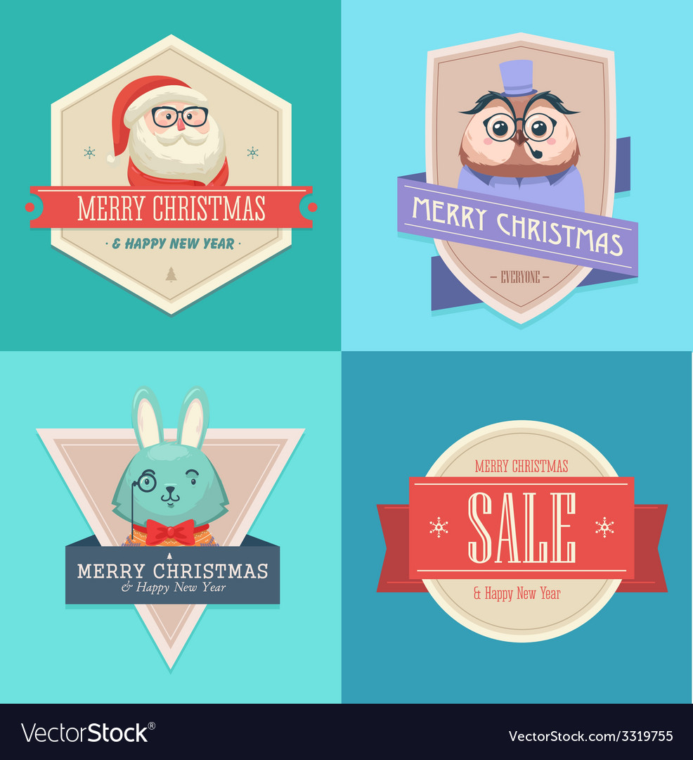 Christmas hipster animals sale card vector   Price: 1 Credit (USD $1)
