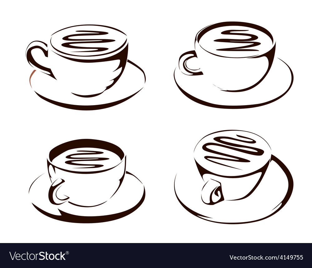 Coffee cup shapes vector | Price: 1 Credit (USD $1)