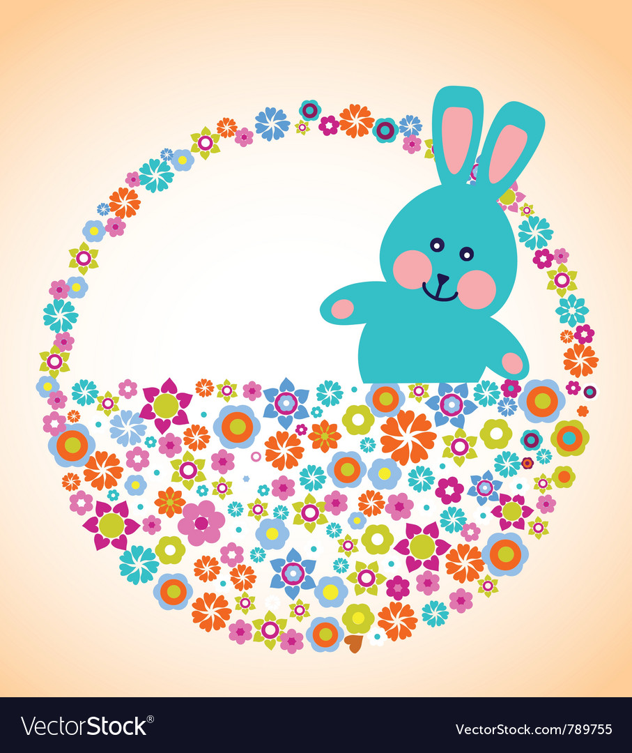 Easter greeting card with bunny vector | Price: 1 Credit (USD $1)