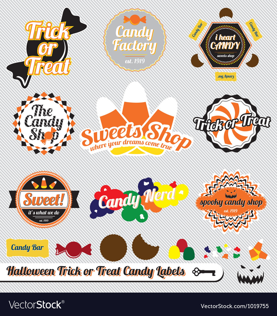Halloween trick or treat candy labels vector | Price: 1 Credit (USD $1)