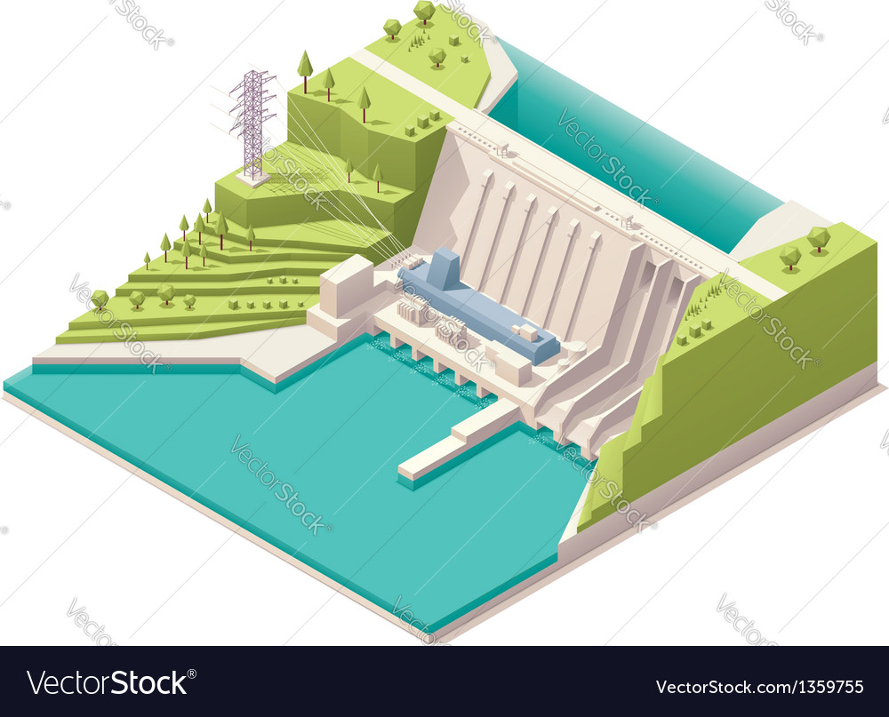 Isometric hydroelectric power station vector | Price: 3 Credit (USD $3)