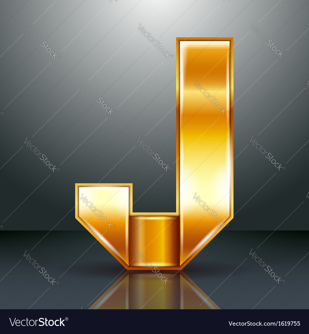 Letter metal gold ribbon - j vector | Price: 1 Credit (USD $1)