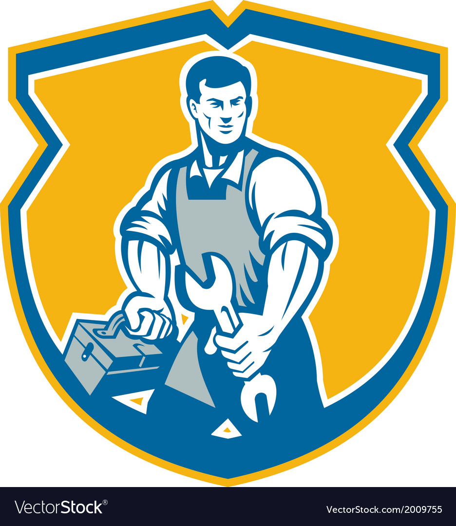 Mechanic holding spanner wrench toolbox crest vector | Price: 1 Credit (USD $1)