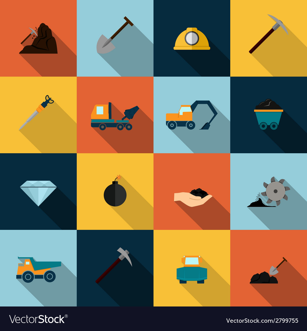 Mining icons set flat vector | Price: 1 Credit (USD $1)