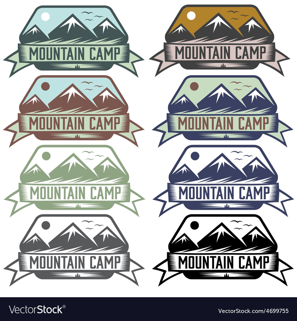 Mountain camp vintage labels set vector | Price: 1 Credit (USD $1)