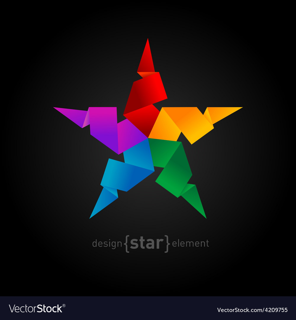 Rainbow origami star on black background vector | Price: 1 Credit (USD $1)