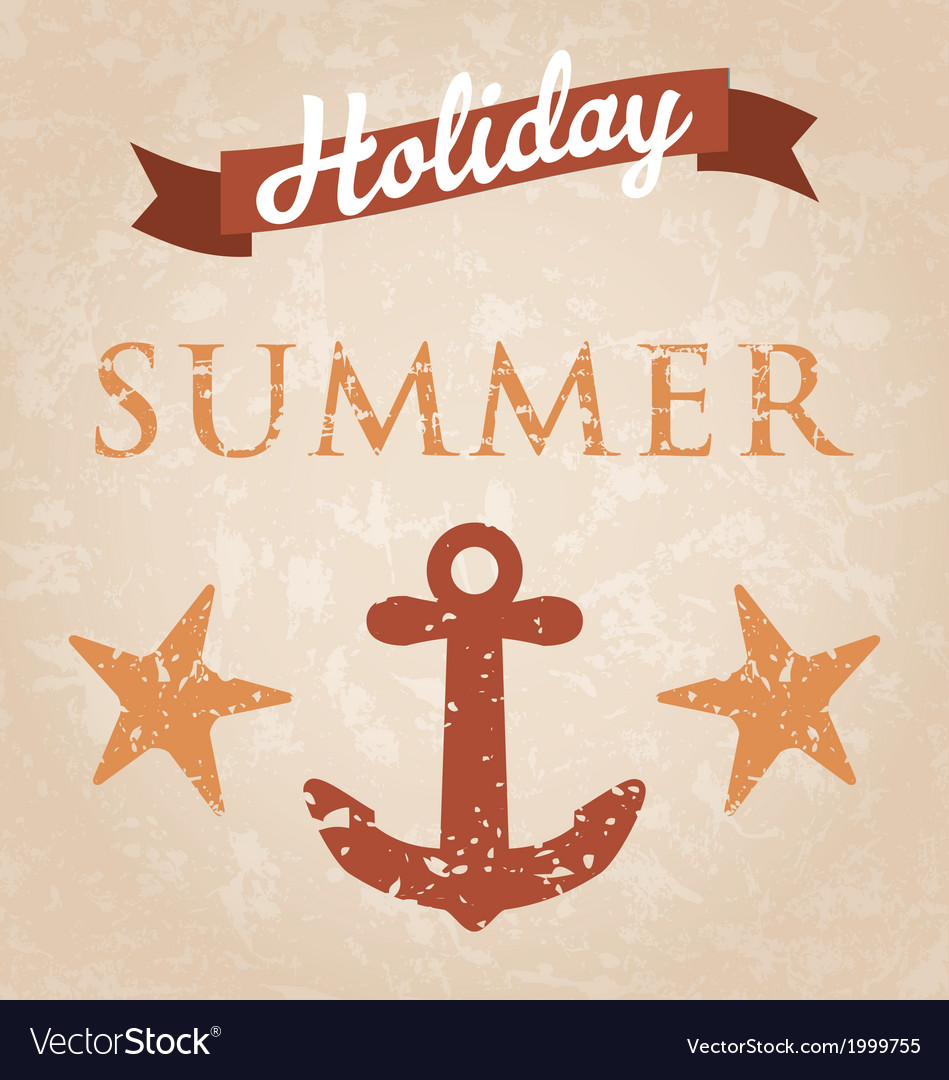 Retro summer holiday poster vector   Price: 1 Credit (USD $1)