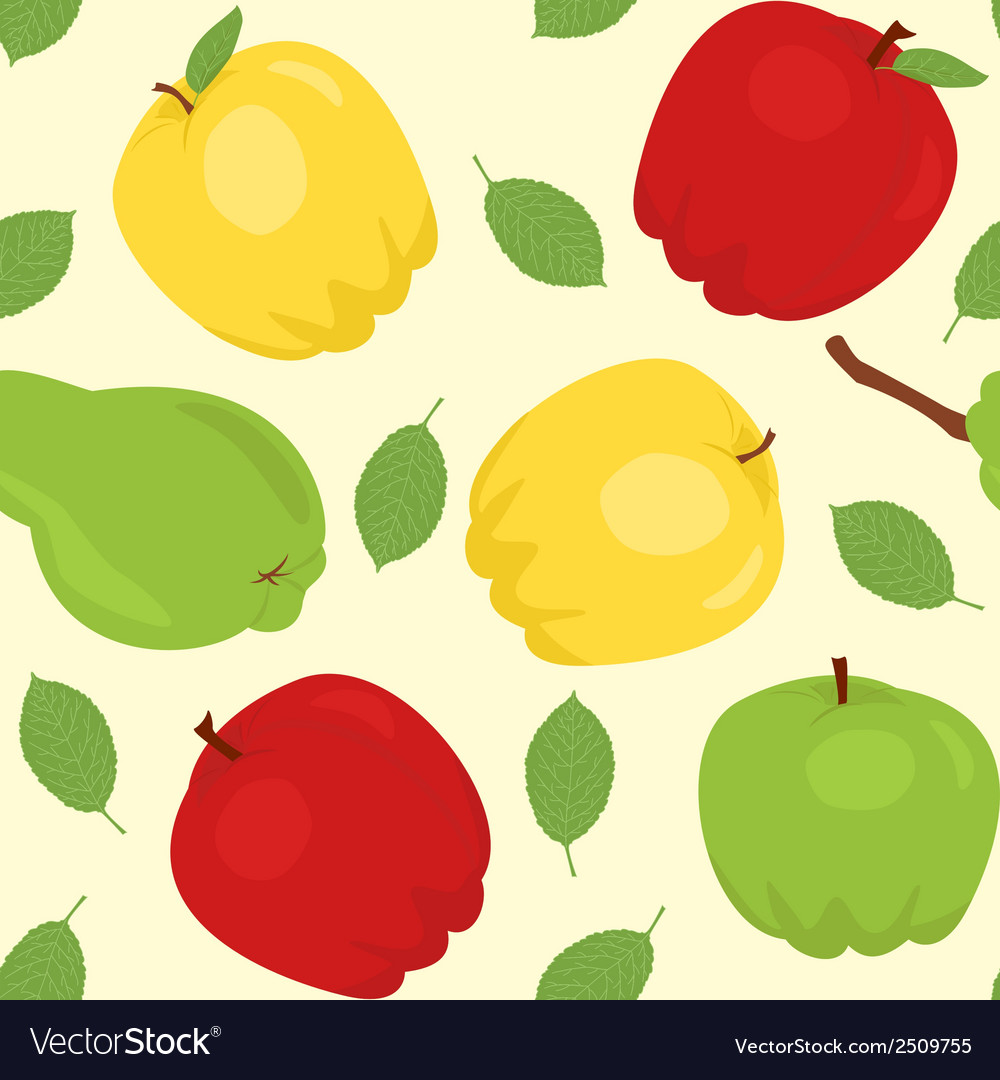 Seamless pattern with cartoon apples and pear vector | Price: 1 Credit (USD $1)