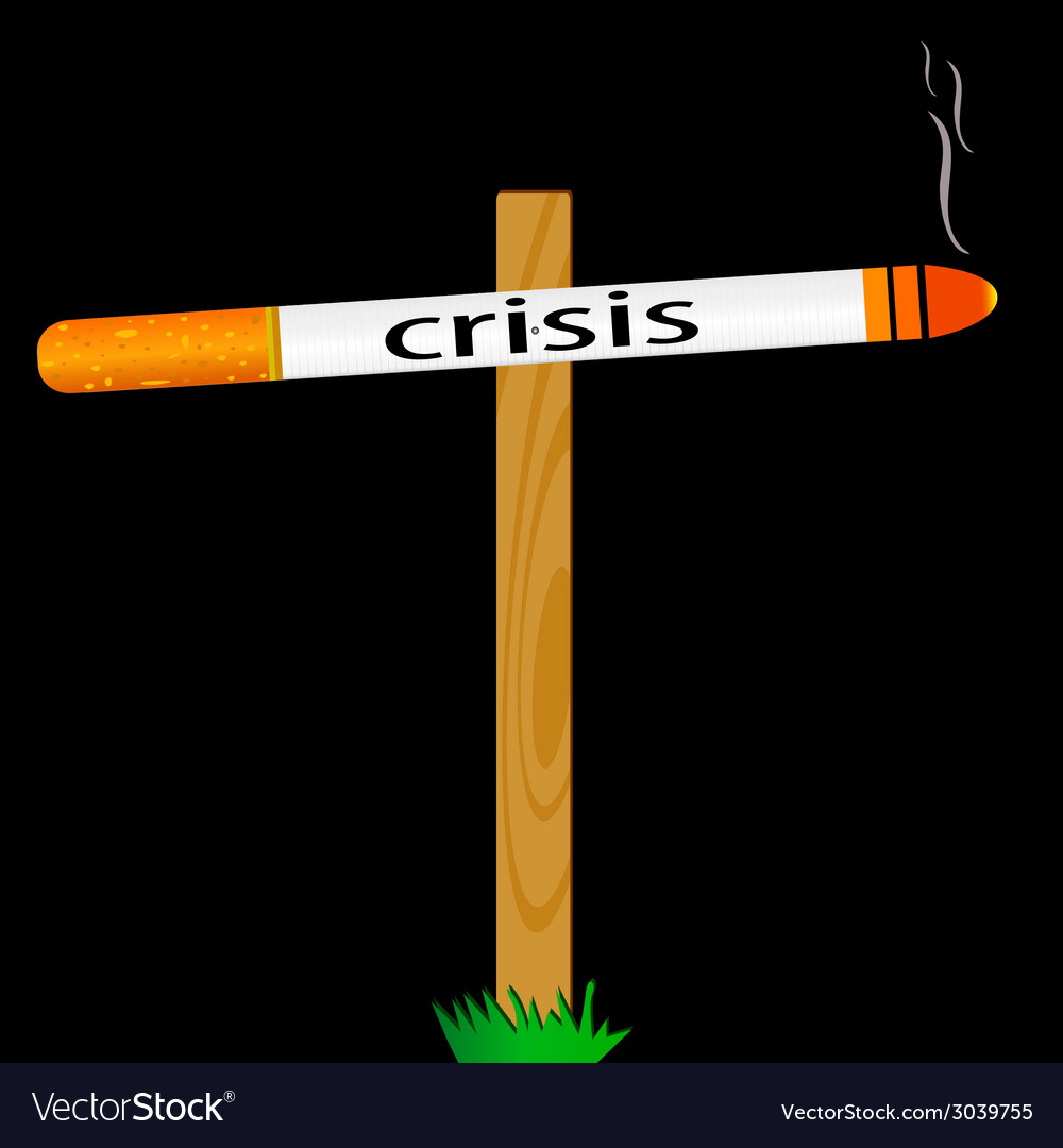 Symbol for the sign of the crisis with a cigarette vector | Price: 1 Credit (USD $1)