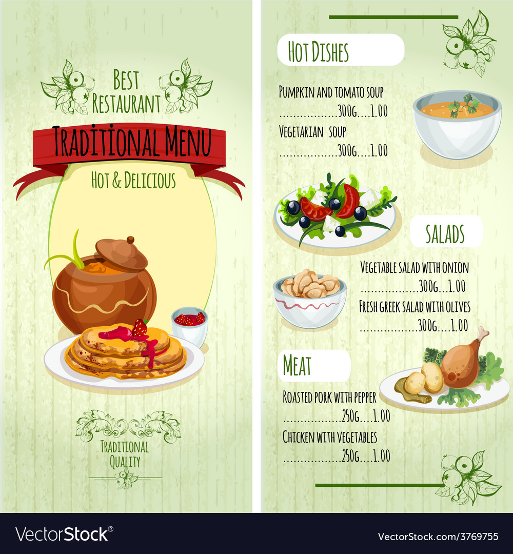 Traditional food menu vector | Price: 3 Credit (USD $3)