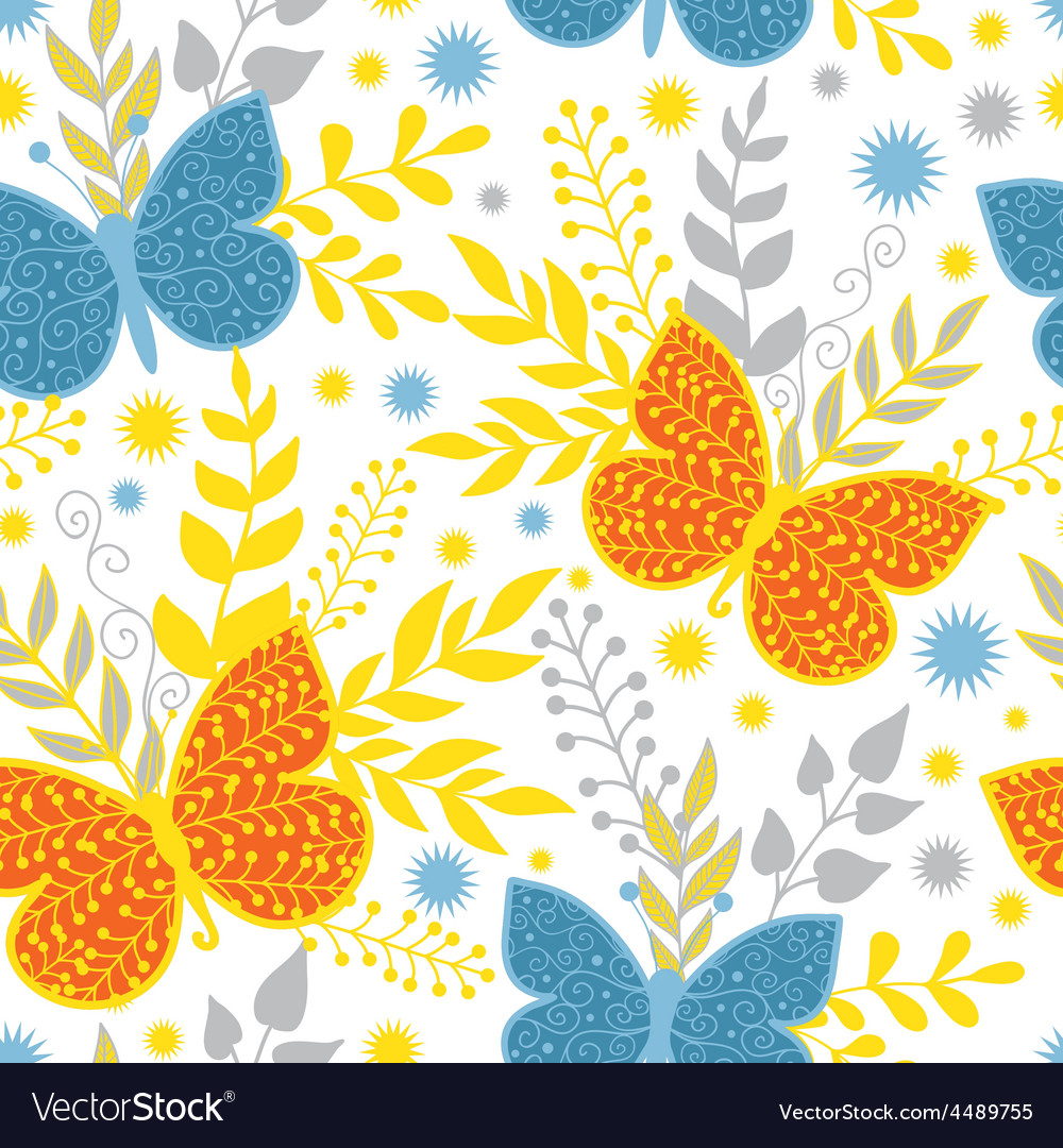 Vibrant blue and orange butterflies vector | Price: 1 Credit (USD $1)