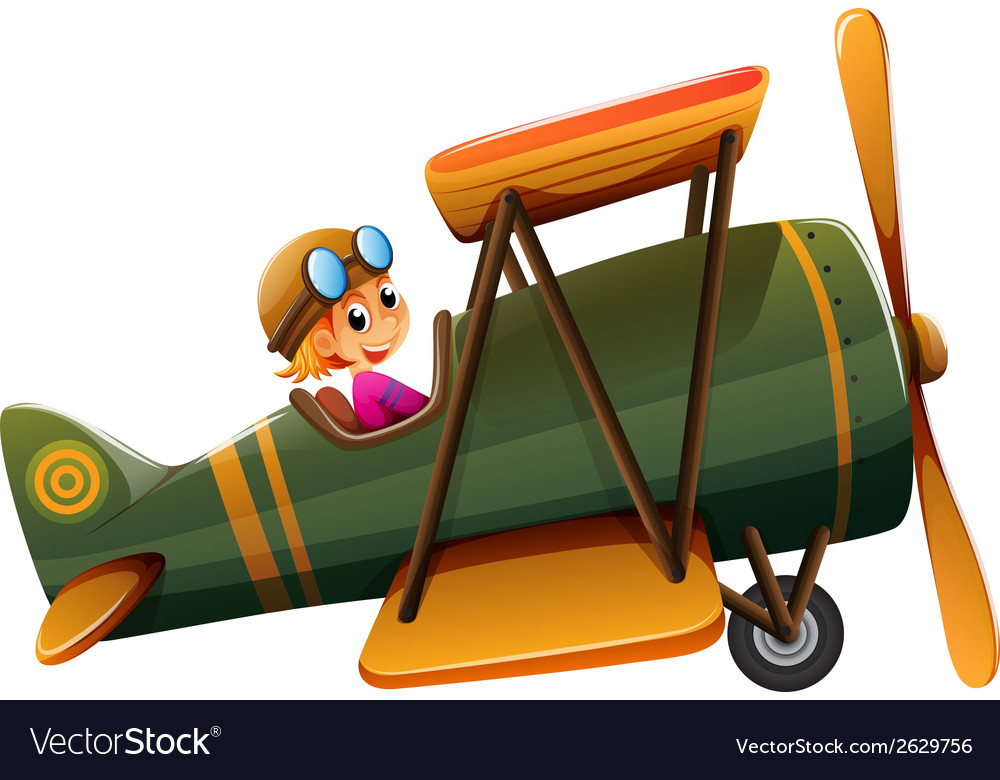 A young man riding on a vintage plane vector | Price: 3 Credit (USD $3)