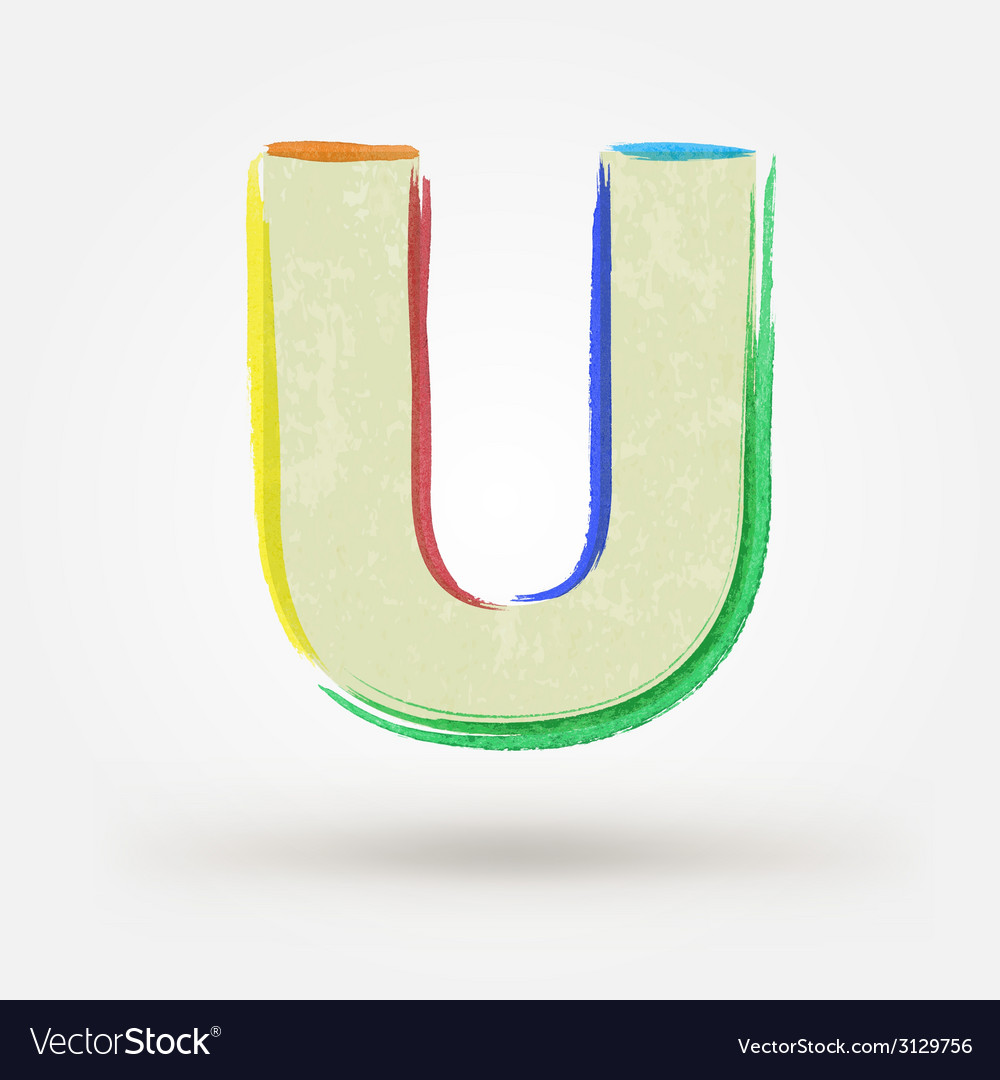 Alphabet letter u watercolor paint design element vector | Price: 1 Credit (USD $1)