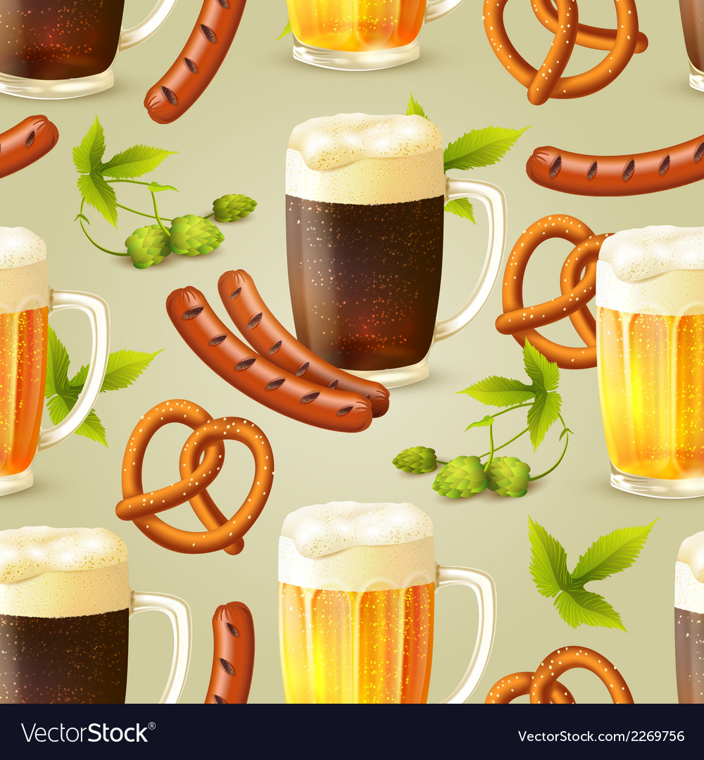 Beer seamless pattern vector | Price: 1 Credit (USD $1)