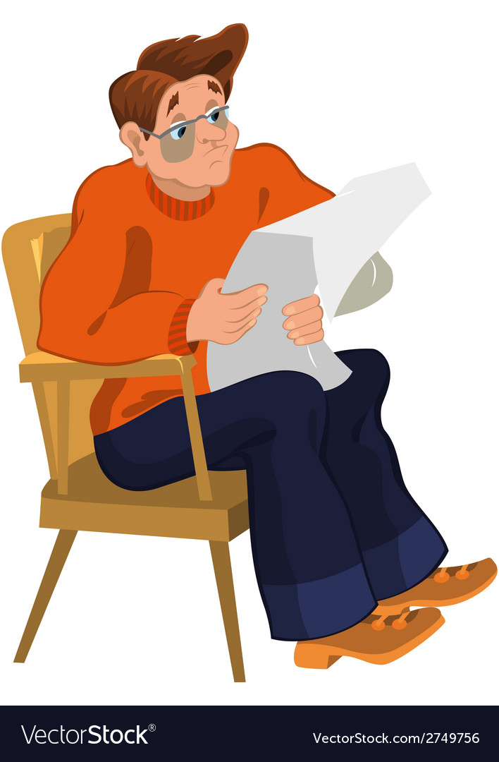 Cartoon man in orange sweater reading newspaper in vector | Price: 1 Credit (USD $1)